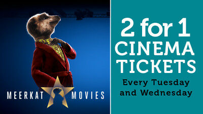 2 for 1 cinema & food voucher code for the following week TUESDAY AND WEDNESDAY