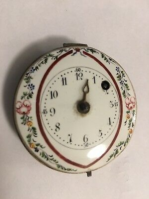 Verge Fusee  Pocket Watch movement With Hand Painted Enamel Dial Front Winding