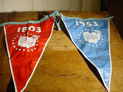 Vintage Very Rare Ohio Sesquicentennial 1803 - 1953 Street Banner Sewn Plastic