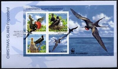 2010 Christmas Island - WWF Frigatebirds Mini Sheet FDC FDI