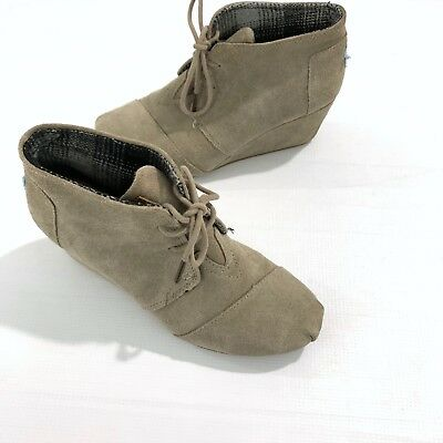 5ea0dc18320 TOMS DESERT WEDGE Womens Lace Up Brown Suede Ankle Boots Size UK 5-8 ...