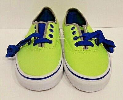 Vans Unisex Authentic (Brite) Skate Shoes Neon Green Blue Size Men 5 Women 34bc053ce