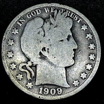 1909-S Inverted S- Barber Half Dollar Silver Coin ~ Nice Original Good. Fs 501