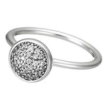 DROPLET Ring 925 Solid Sterling Silver Dazzling Clear CZ Pave Size 8 / 56