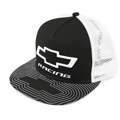 Chevy Racing Bowtie Trucker Hat Cap - Black White - Shipped in a Box Free - USA
