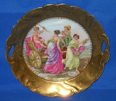"""Prov Saxe, Cake plate, Gold trim 99.9 w/ embossed pattern, 10"""", near mint!"""