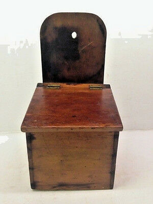 1890's Old Primitive Wall Hanging Lidded Salt or Spice Cherry Wood Pantry Box