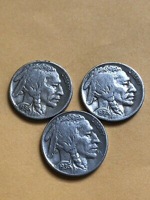 Buffalo Nickels. Set Of Three 1936- P 1936-D and 1936-S