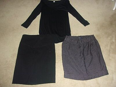 3 pc LOT Med (8-10) Maternity items a New Old Navy Top, and 2 pre-owned skirts