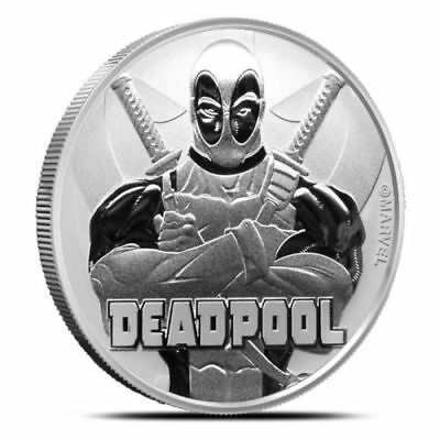 2018 Tuvalu Marvel Deadpool 1 Oz .999 Fine Silver Coin In Original Mint Capsule