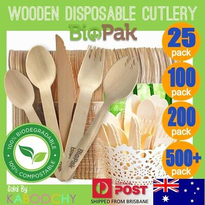 Wooden Disposable Cutlery FORKS KNIVES SPOONS SPORKS TEASPOONS Eco Party Bulk