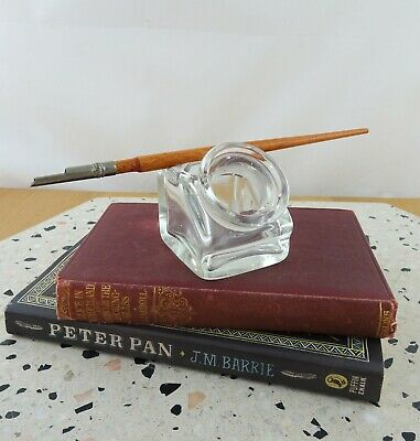 Small Vintage Glass Inkwell with Pen Rest
