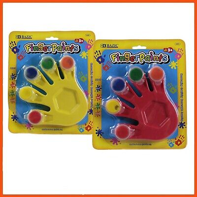 16 x FINGER PAINT WITH HAND SHAPED MIXING TRAY 5ml | Kid's Art & Craft Painting