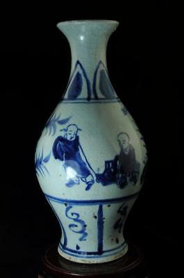 old chinea hand-made blue and white porcelain hand painted character vase c02