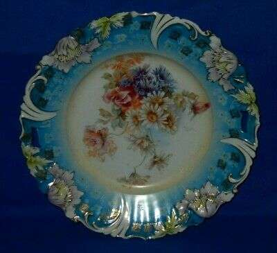 """Poppy mold cake plate, Daisies, Gold stencils, painted detail, Leaves, 11.25"""""""