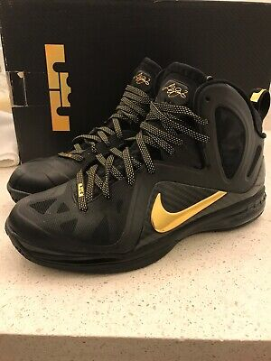 new styles 4df5a 360ac Nike Air Max LEBRON IX 9 P.S. ELITE PLAYOFF AWAY BLACK GOLD Size 10 MSRP   250