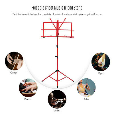 Adjustable Folding Sheet Music Tripod Stand Holder Heavy Duty Red+Case Hot X3U1