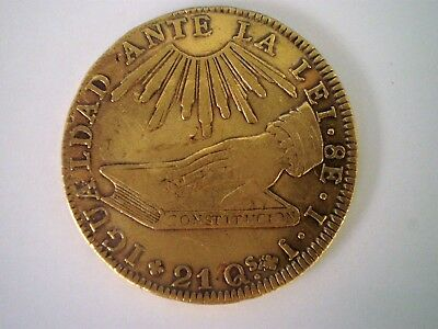 1835 Ij Chile 8 Escudos (Dollars} 8E Doubloon Colonial Gold Coin