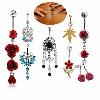 Door Knocker Style Captive Belly Ring with CZ Gems