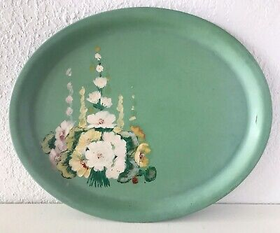 Vintage Antique Hand Painted Floral Large Tin Tray Turqouise Teal Toleware Metal