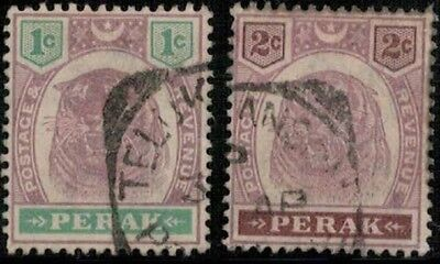 Lot 5359  - Malaya (Perak) 1895 used Tiger stamp part set (2)