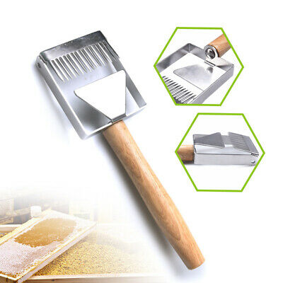 Stainless Steel Bee Hive Honey Fork Scraper Shovel Wood Handle Beekeeping Tool