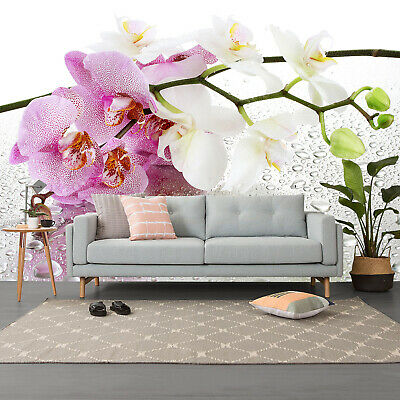 3D Pink and White Beautiful Orchids wall Murals Wallpaper Photo for Home Decor