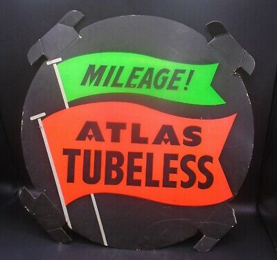 "VINTAGE 1950's ATLAS TIRES (17 1/2"" INCH DIA.) CARDBOARD TIRE INSERT SIGN"