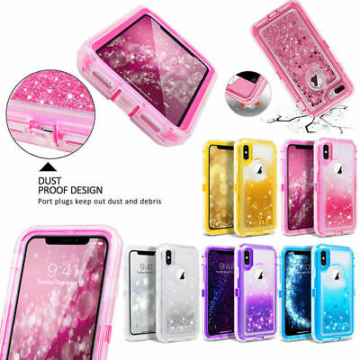 For iPhone Xr Xs Max 7/8 Plus Liquid Glitter Quicksand Bling Sparkle Case Cover