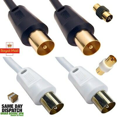 1m - 25m RF Coaxial Digital TV Aerial Cable Fly Lead Television Extension Gold