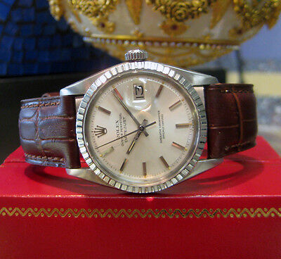 Mens Vintage ROLEX Oyster Perpetual Datejust Stainless Steel Engine Turned Bezel