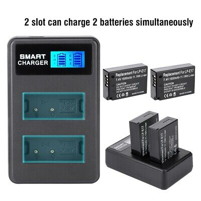 LP-E17 Battery + Dual Chargers Accessories for Canon EOS 750D 760D Kiss 8000D M3