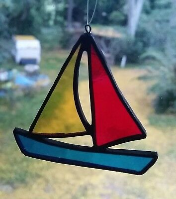 Sailing boat handmade in stained glass. Mobile, window hanging, great gift.