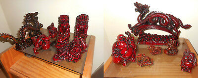 Red Dragon Porcelain 12 statuettes