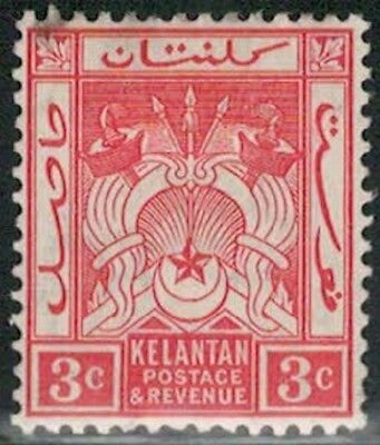 Lot 5363  - Malaya (Kelantan) 1911 3c red mint hinged Coat of Arms stamp