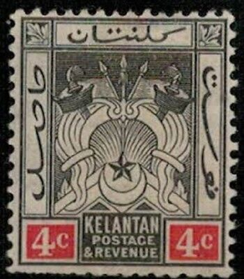 Lot 5364  - Malaya (Kelantan) 1911 4c black & red mint hinged Coat of Arms stamp