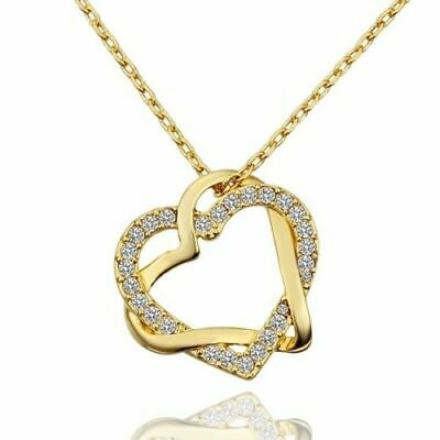 18K Gold Filled Women's Love Heart Pendant Necklace Made With Swarovski Crystal