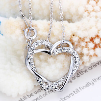 18K White Gold Filled Women's Heart Pendant Necklace Made With Swarovski Crystal