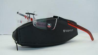 Tag Heuer Spring Rubber TH3843 002 Black & Red Rimless Eyeglasses Frames Size 59