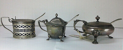 (02) Tre Mostardiere in Argento Sterling 1899 - 1908 - 1913