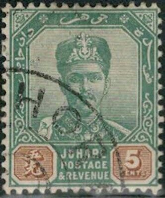 Lot 5373  - Malaya (Johore) 1896  5c green and brown MH Sultan Ibrahim stamp