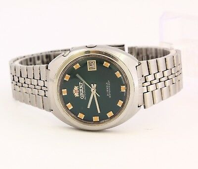 RARE Orient 1743 STC stainless steel men's watch, date Dark green dial 21 jewels