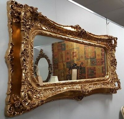New LARGE Antique Vintage ROCOCO Gold Gilt Ornate Frame Overmantle Wall Mirror