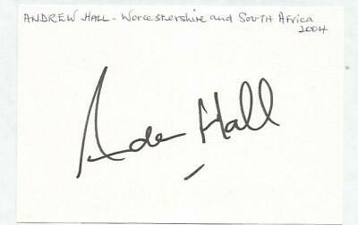Worcestershire C.C.C Andrew Hall signed album page. 15x10 cm stuck to A4. SSP497