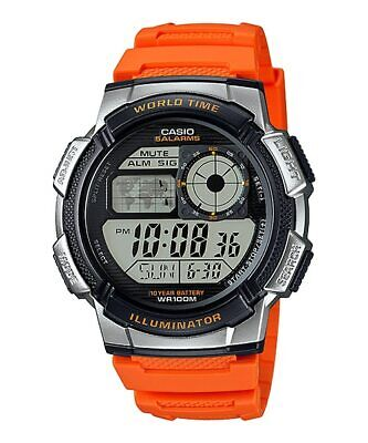 Casio Digital World Stop Watch Orange Resin Band 5 Alarms Chronograph AE1000W