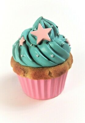 Cupcake Jewellery Trinket Box Container Pink and Blue Lift Off Lid