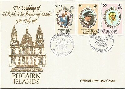 Royal Wedding HRH Prince Of Wales First Day Cover Pitcairn Islands 1981 Z6083