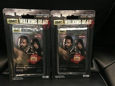 Lot of 2 Sealed Walking Dead Trading Cards Retail Blister Pack Season 3 Part 2