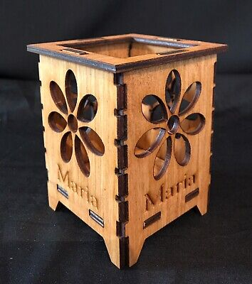 Wooden Tealightcandle Holder Lantern Personalised With Your Text