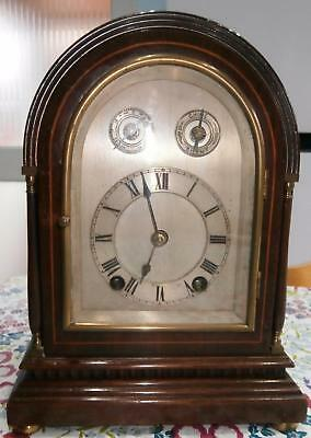 Miniature Westminster Two Hole Bracket Clock in Mahogany Inlaid Case